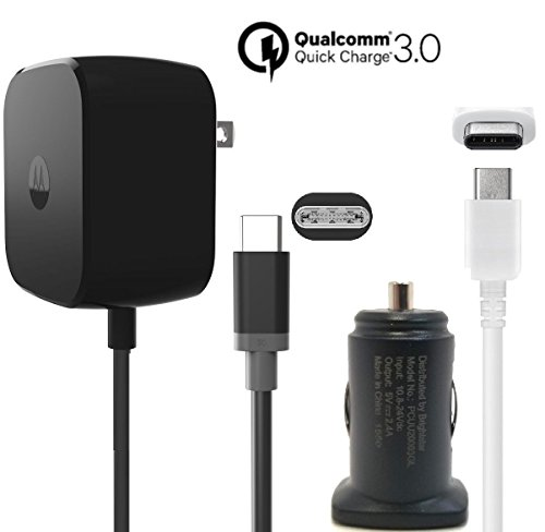 Price comparison product image Motorola TurboPower 30W Fast TYPE C Charger W/Key 2.4Amp Universal Car Adapter W/ TYPE C USB for Moto Z/Z2/Force/X4 Pixel/2/XL/C/Note8/S8/S9/+/G6 (Certified Refurbished) Kit
