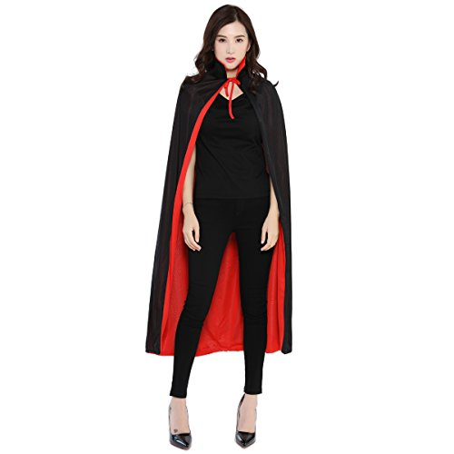 WESTLINK Cloak with Collar Costume Cape (35-55inches) Black Red Reversible