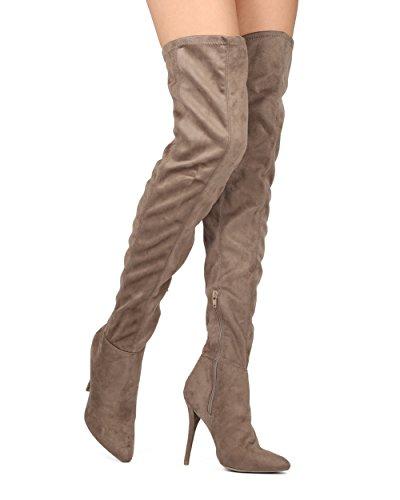 Alrisco Femme Cuisse Haute Botte Stiletto - Bout Pointu Talon Botte - Sur Le Genou Botte Stiletto - He22 Par Sauvage Collection Diva Taupe Faux Suède