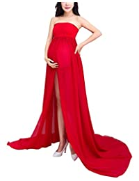Maternity Sleeveless Off Shoulder Photography Dress Open Split Front Chiffon Gowns with Underwear