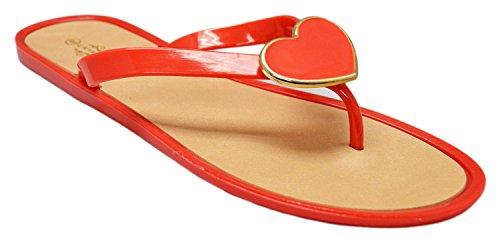 Charles Albert Womens Sandalo Cuore Ornamento Infradito Sandali Infradito Rosso