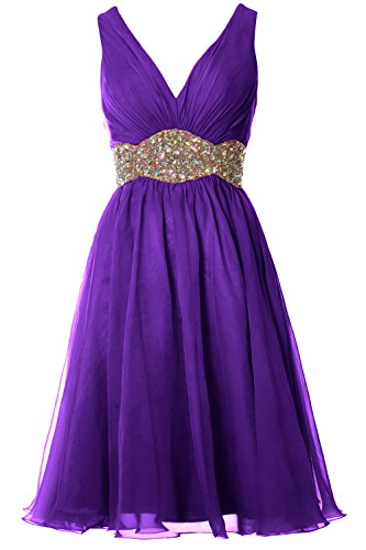 MACloth Women Straps V Neck Chiffon Short Prom Dress Wedding ...