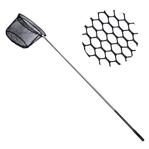 [Fishing Landing Net Folding Stainless Steel Fish Carp Landing Net with Extending Non-slip Pole Handle, Fish Shrimp Bird Butterfly Catching Gear] (Aquarium Fish Catfish)