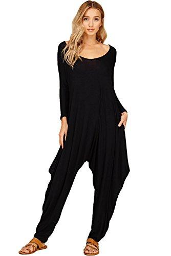 0fe85f2645d3 Annabelle Women s 3 4 Sleeve Comfy Harem Pocket Jumpsuit Romper Black  3X-Large JC6008X
