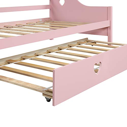 Daybed with A Trundle, Solid Wood Trundle Daybed Twin Size, Loving Shape Bed Frame for Kids Living Room Guest Room Pink