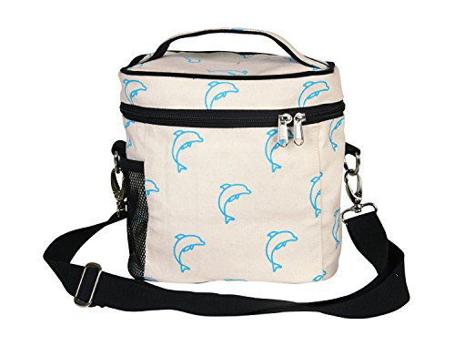 (EcoRight Lunch Bag Reusable Cotton Canvas EcoFriendly Insulated Cooler Washable Zipper for Men, Women, Adults Printed