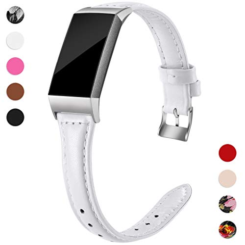 Hamile Slim Bands Compatible for Fitbit Charge 3, Genuine Leather Replacement Watch Band Wristband Strap for Fitbit Charge 3 and Charge 3 SE, Women, Small, White