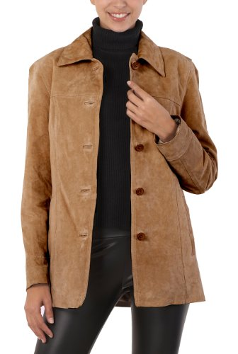BGSD Women's Anna Suede Leather Car Coat - Caramel (Suede Jackets For Women)