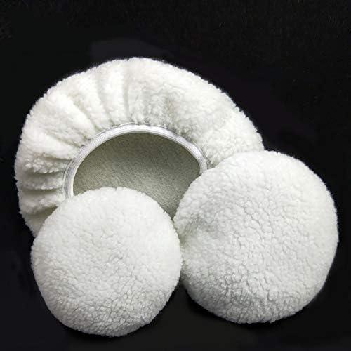 White 5-6 inch YUSHHO56T Polishing Pad Car Cleaning and Maintenance Polisher Pad 2 Pcs Cashmere Polishing Bonnet Buffer Microfiber Car Paint Wax Polisher Cover