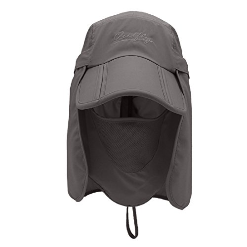 LLmoway Outdoor Kid Safari Hats Mesh Flap Cap Sun Protection Hat Detachable Dark Grey