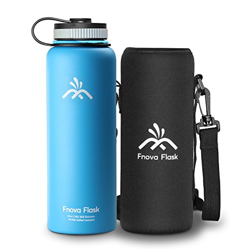 Fnova 40 oz Stainless Steel Water Bottle, Flask 40oz Insulated Double Walled Vacuum Thermos, Wide Mouth bouns Protective Pouch/Carry Cover, BPA-Free, Cold 24 Hrs/Hot 12 Hrs (Blue, 40oz)