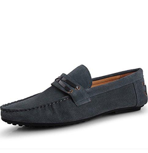 Santimon - Mens Casual Comfort Genuine Nubuck Leather Running Outdoor Low Boat Shoes Moccasin Loafers Grey 9iqBUYr