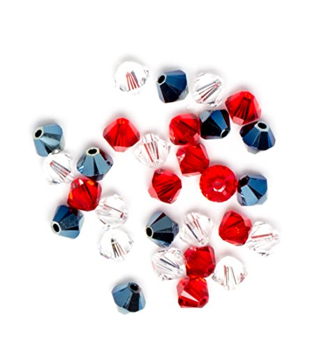 - Swarovski - Create Your Style Bicone Crystal Mix Patriot Red, White, and Blue 3 packages of 30 Piece (90 Total Crystals)
