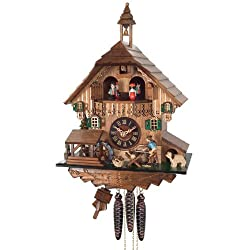 River City Clocks One Day Musical Cuckoo Clock Cottage with Man Sawing Wood, Waterwheel and Dancers
