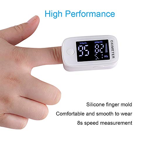 Oxygen Saturation Monitor, MEETWIN Premium Finger Pulse Oximeter Fingertip, Oxygen Monitor, O2 Saturation Monitor, LED Portable Oximetry with Batteries and Lanyard Included