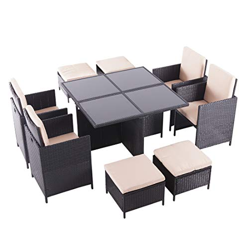 United Flame Cube 9 Pieces Indoor/Outdoor Patio Furniture Dinning Set Black Rattan Chair Wicker Set Backyard Lawn Garden Furniture Set with Glass Table and Cushions All Weather RTA Furniture Sets (Table Black Small Garden)