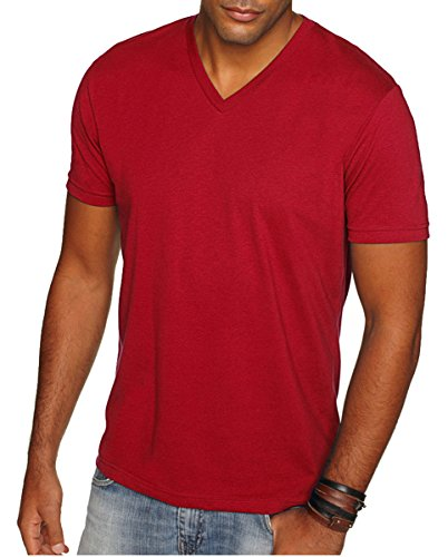 Next Level Apparel 6440 Mens Premium Fitted Sueded V-Neck Tee - Cardinal, Medium - Banana Fitted Jersey T-shirt