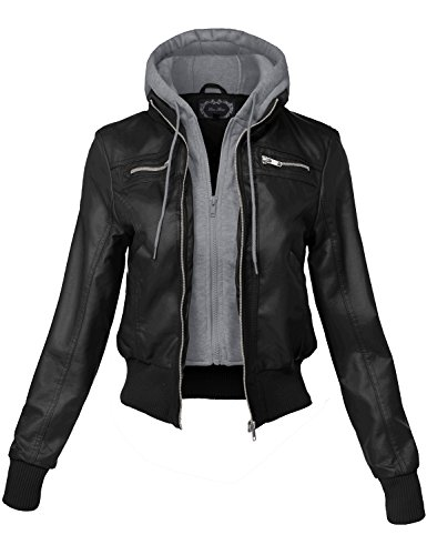 Zipper Detail Undetachable Hoodie Faux Leather Jackets,154-black_grey,Medium