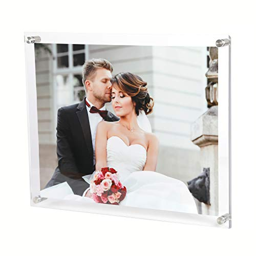 Magicool 8.5 x 11 Acrylic Picture Frames Wall Mount Photo Frame Frameless Clear Floating Frame for Document Certificate Artwork(4 Pack,Full Frame is 9.5 x 12 inch)