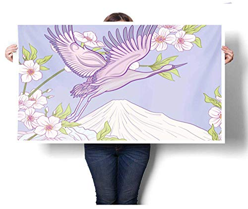 Wine Cherry Hill Bar (Mangooly bar Wall Art Flourishing White Cherry Blossom Three Flying Fluffy Bird Over Snowy Fuji Mountain Art Poster Print 24