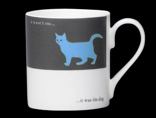 (Silhouette Cat Funny Bone China Mug It Was The Dog Stoke On Trent England Blue)
