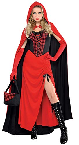 Ladies Long Length Sexy Red Hooded Enchantress TV Book Film World Book Day Halloween Fancy Dress Costume Outfit UK 8-16 (UK 14-16)