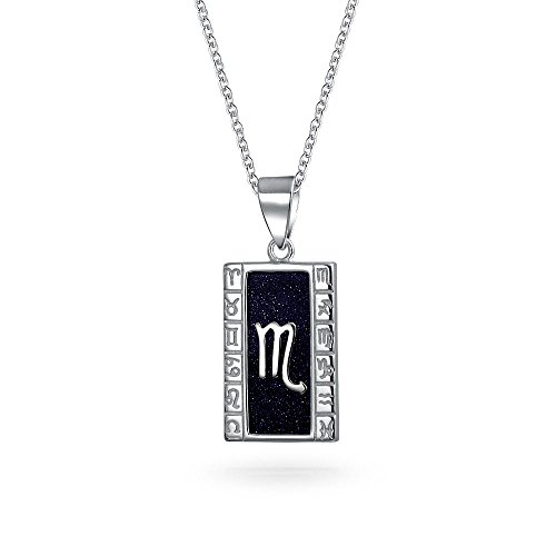 Navy Blue Goldstone Scorpio Zodiac Sign Astrology Horoscope Dog Tag Pendant For Women Men Necklace 925 Sterling Silver (Best Dog For Zodiac Sign)
