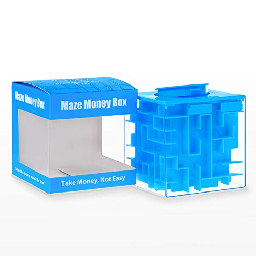 Elfesto Money Maze Puzzle Box: 3D Maze Money & Credit Card Gift Cube| Piggy Bank Money Holder/Saving Box|Fun, Challenging Game/ Brain Teaser for Kids & Adults|Top Money Gifting Puzzle Cube Box| Blue ()