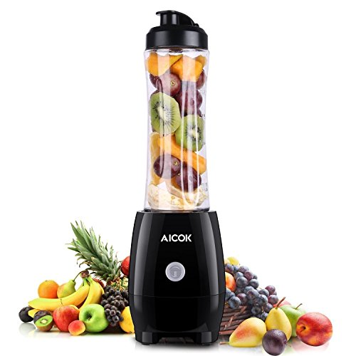 Personal Blender Aicok 300W Single Serve Smoothie Blender with Detachable Blade Assembly, Tritan BPA Free Bottle for Shakes and Smoothies, Black