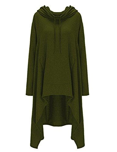 Shineya Women's Solid Color Pullover Hoodie Asymmetric Hem Sweatshirts Dress S-4XL Army Green L
