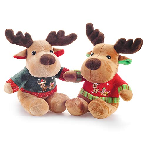 Lazada Christmas Reindeer Plush Christmas Decorations-7.5 Inches Christmas Toys Gift 2pcs