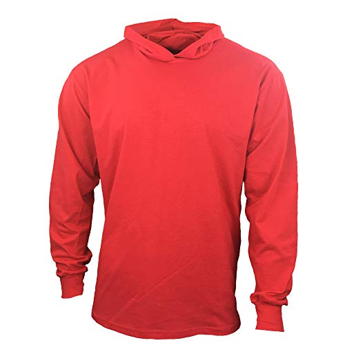 Men Construction Long Sleeve Work T Shirts with Hood (Red, Medium)