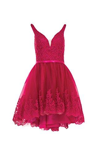 Spitze V Lang Ballkleider Ausschnitt Dunkel Promkleider Linie Abendkleider Damen Abendkleider lo a Pink Charmant Rock Hi 5HvzI