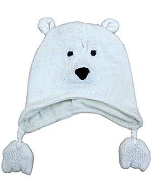 CP Infant Boys & Girls White Knit Polar Bear Peruvian Trapper Hat 6-12 Months
