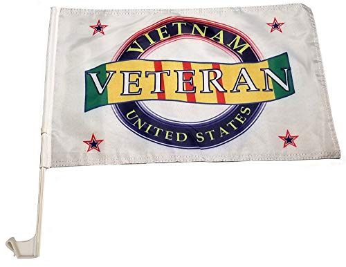 "(Fine Day Designs Veterans Car Flag with Window Clip 18.5"" X 12"" Water Safe UV Reflective Non-Fading (Vietnam Veteran Car Flag))"