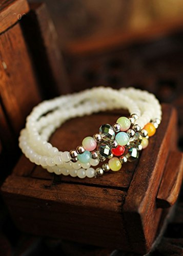 The new Bohemian national wind female multi-storey hand string meaning four seasons peace white agate bracelet