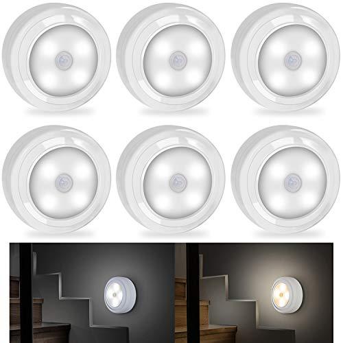 SZOKLED Motion Sensor Night Light Battery Powered LED Puck Lights, Wireless Under Cabinet Lighting Closets Light, Stick Anywhere for Hallway Bedroom shelves Stairs Garage, 3000 & 6000K 2-in-1, 6 Packs