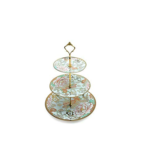 - Serving Tray Stand Three Tiered Serving-Stand Round Ceramics Platter+Metal Bracket For Cupcakes Fruits Dessert Or Tea/Dessert Stand - Party Serving Platter|-Peony Pattern (Size : S)