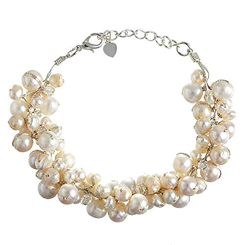 Silk Thead and Cream Cultured Freshwater Pearl Cluster ()