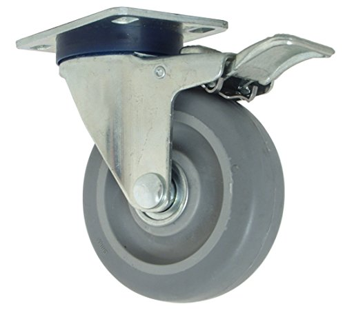 """RWM Casters VersaTrac 27 Series Plate Caster, Swivel with Brake & Lock, TPR Rubber Wheel, Ball Bearing, 275 lbs Capacity, 4"""" Wheel Dia, 1-1/4"""" Wheel Width, 5-1/4"""" Mount Height, 3-3/4"""" Plate Length, 2-5/8"""" Plate Width from RWM Casters"""