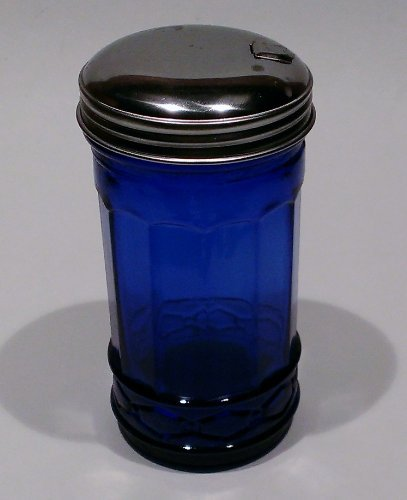 Cobalt Blue Glass Sugar Shaker Dispenser Metal Top ()