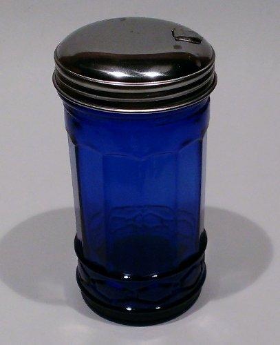 Cobalt Blue Glass Sugar Shaker Dispenser Metal Top