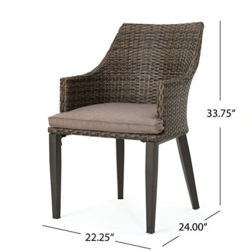 Great Deal Furniture Hilary Outdoor Mixed Mocha Wicker Dining Chairs with Mocha Water Resistant Cushions Set of 4