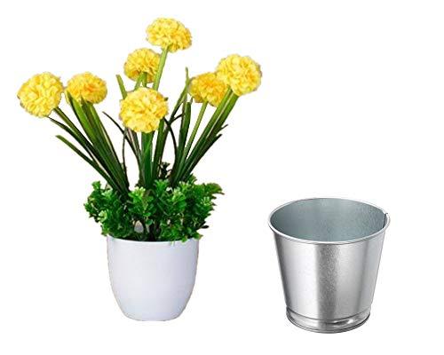 (XICHEN Artificial Potted Plant Plus Flower pots, Large Petals 7 Hydrangea Flowers, 11 Inch (Yellow))