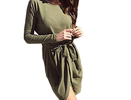 Formato Puro Irregolare Militare Lunghezza Fasciatura Metà Verde Donne Abito Colore Più Comodi EwnqEXCS