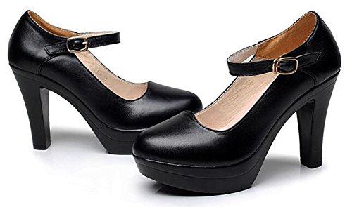 Chfso Donna Classica Tinta Unita Cinturino Alla Caviglia Con Cinturino Alla Caviglia E Tacco Alto In Nero
