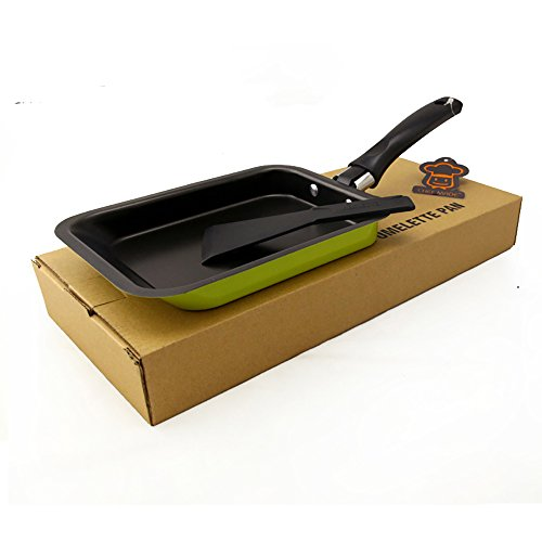 Mini Tamagoyaki Japanese Omelette Pan / Egg Pan, - Colour Collection / Hard Anodized Non-Stick Coating Carbon Steel Pan (PFOA Free) Rectangle Frying Pan Mini frying pan (Green 2) ()