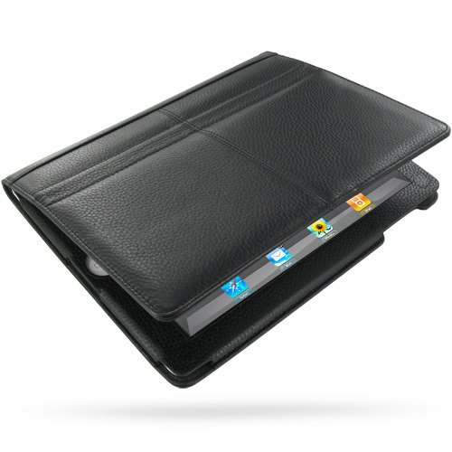 PDair Black Floater Leather Book-Style Ver. 1 Case with Magnetic Closure for Apple iPad 2 / 3 / 4 by PDAir
