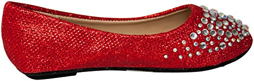 Link Slip Studded Rhinestone Girls On Fabric Red Forever Flats Ballet wIpdqxIUP