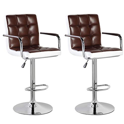 - United Office Chair 5012Br-2 Modern Contemporary Leather Swivel Adjustable Counter Height Bar Stools with Backs and Arms Set of 2 Brown White